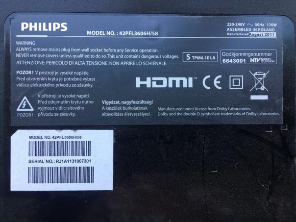 Ремонт жк телевизора Philips 42pfl3606H/58 - нет дежурки