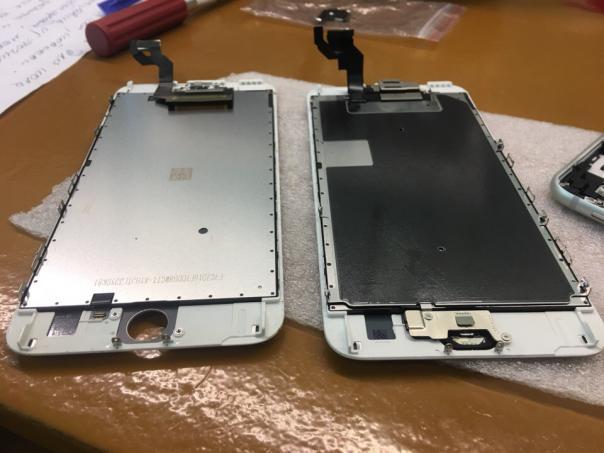 Ремонт iPhone 6s PLUS - замена оригинального дисплейного модуля с битым стеклом, на китайский аналог...